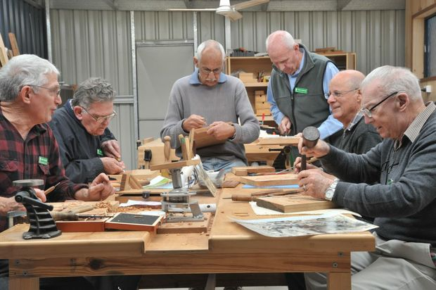 Members of the Caloundra Woodworking Club work on their panels depicting Australian war conflicts through the ages that will be donated to the Caloundra RSL. Pictured (L-R) are Barry Breddin, Don Ogg, Alan Jeffs Trevor Greenlees, Noel Aurish and Roy Cantor. Photo: Brett Wortman / Sunshine Coast Daily