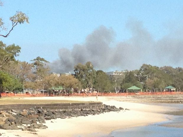 Smoke from the fire at Bongaree on Tuesday.