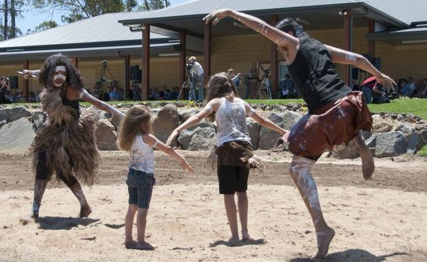 IT'S BEEN TWO YEARS: The RM Williams Australian Bush Learning Centre in Eidsvold has been open for two years. At the official opening in 2010 Indigenous dancers Jermaine Beezley and Venieca Chapman performed with the children of the didge player Graham Beasley junior.