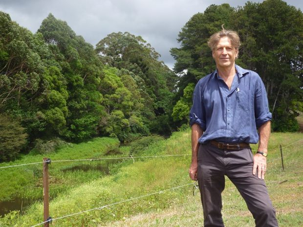 Green Hills president Steven Lang at the revegetation site on Obi Obi Creek.