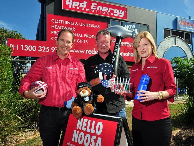 (L-R) Justin Veivers, John Leach and Jodi Veivers at Red Energy in Eumundi Road.