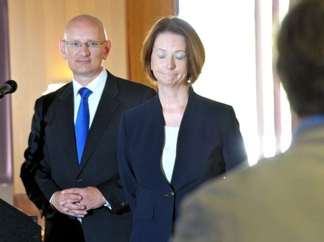 Prime Minister Julia Gillard at the Ipswich Turf Club breakfast on Thursday morning.