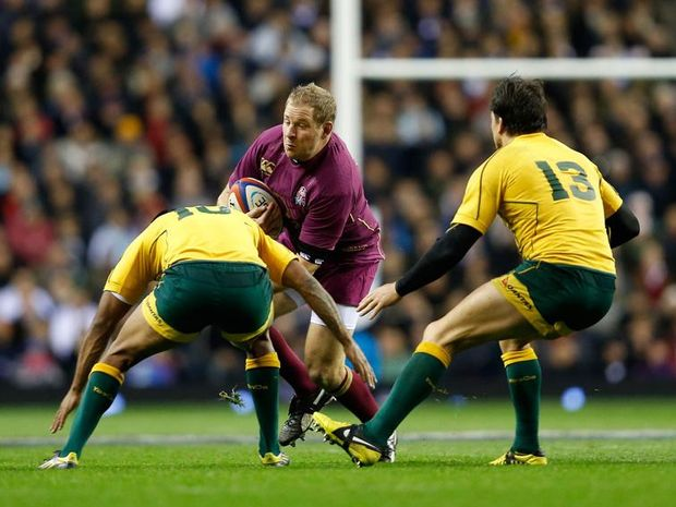 David Paice (C) of England in action during the QBE International match between England and Australia at Twickenham Stadium.