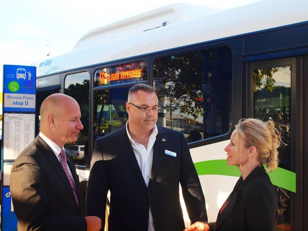 BUS ROUTES: Assitant Minister for Public Transport Steve Minnikin, State Member for Logan Michael Pucci and Councillor Trevina Schwarz.