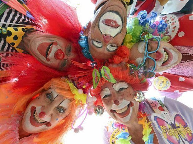Coastal Caring Clowns Christine Rule, George Farmer, Jean Thompson, Anne Hardeman-Jones and Roy Weatherley.