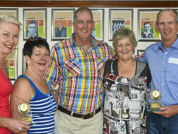 Kathy Hammett, Joan Ryan, inductee Bob Bennett, Michelle Rock and inductee Wayne Bennett are relations of inductee Eddie Brosnan.