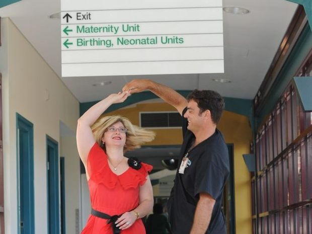 Nursing director Shondyce McShane practises her dance moves with registered nurse Chris Barnes ahead of the inaugural Combined Health Services Ball.