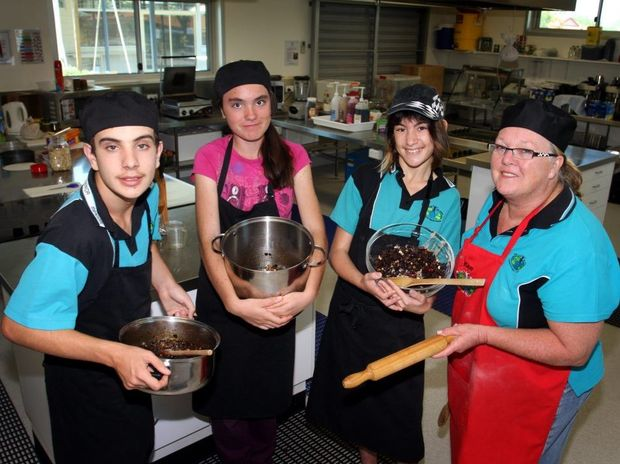 Caboolture Special School students Manuel Lipsanos, Rebecca Ison and Courtney Panell with teacher Kaye McGaughey.