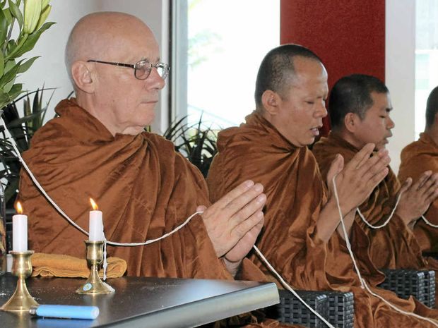 BLESSING: Buddhist monks bless the Red Wok restaurant which opened in Ballina last week.
