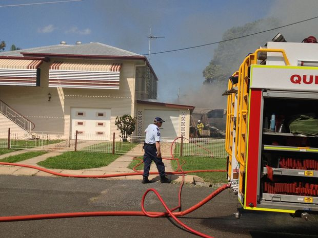 A Rockhampton house which caught fire.