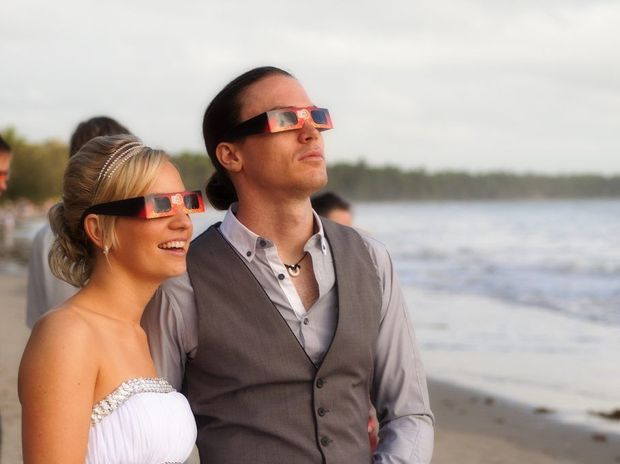Toowoomba high school sweethearts Kirsty Steffens and Glen Harris celebrated their 10 year relationship by exchanging vows under the solar eclipse last week in Port Douglas.