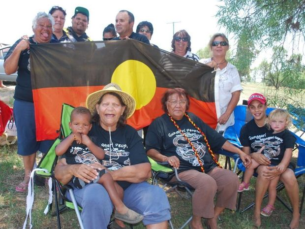 Gunggari people have set up a tent embassy beside the Maranoa Bridge works in Mitchell to protest their exclusion from the heritage work on the site.