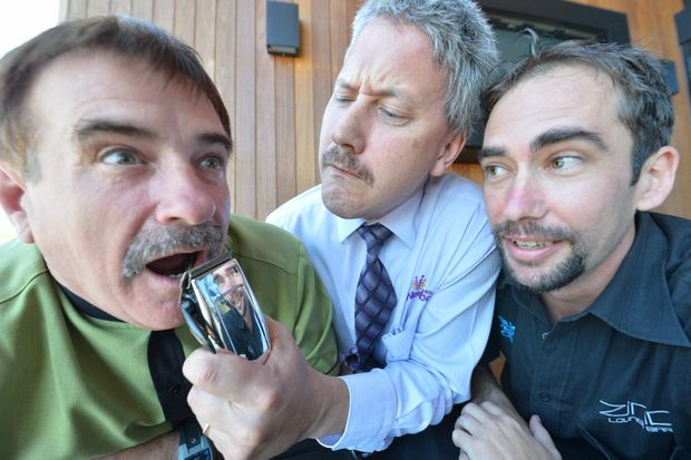 David Christie, Brett Peck and Will Fletcher of Nambour RSL will shave off their mos for Movember.