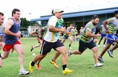 RUNNING GAME: Ipswich Jets players get back to work at their first training run for the 2013 Q-Cup season.