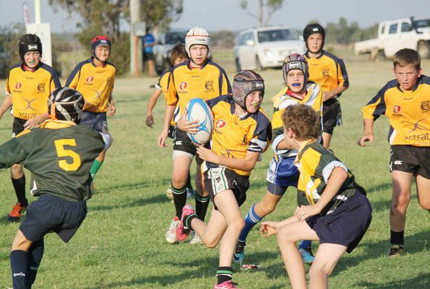 TOO GOOD: The Emerald State School Green defeated St Patrick's A side in the Central Highlands junior rugby union grand final.