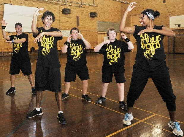 From left, Lala Glew, Michael Farah, Milika Marika,Jake Collins, Craig Price and Shari Togo. Indigenous Hip Hop Program, at Kadina high school in Goonellabah.