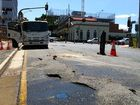 A burst water main under the intersection of East and Brisbane sts in the Ipswich CBD.