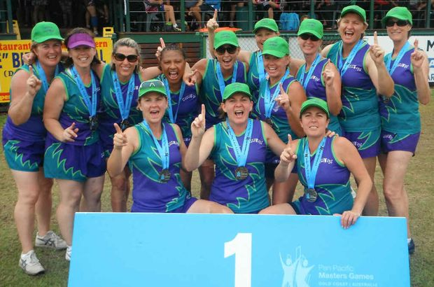 NUMBER ONE: The Capricorn Castaways touch footy players celebrate their win in the over-40s women's grand final at the Pan Pacific Masters Games at the Gold Coast. The team included Emerald players Daria Wills and Kennace Stewart and former Emerald players Janelle Ramsey (Toowoomba), Claudine McCarthy and Brenda Johnson (Emu Park).