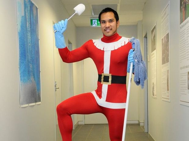 Mark Cecil offered himself as a slave to the highest bidder in a Movember war against co-worker Julian Lancaster-Smith. The fundraising runner-up will be donning a Santa morph suit at the Toowoomba Chamber of Commerce and Industry's Christmas party next week.