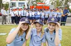 Katie Clarke, Claire Bridge and Taylah Mayberry - three of the 35 year 9 students at CVAS that completed the RFS Cadet training program. Photo Adam Hourigan / The Daily Examiner