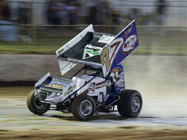 CHASING: Robbie Farr drives at Charlton Raceway on Saturday night.