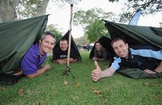 Swag-a-Boss sleep out at Scarness Park - (L) Adam Healey (Forty Winks), Darren Bosley (Chronicle), Lisa Desmond (FCRC) and Robert Geluk (We Care 2). Photo: Alistair Brightman / Fraser Coast Chronicle