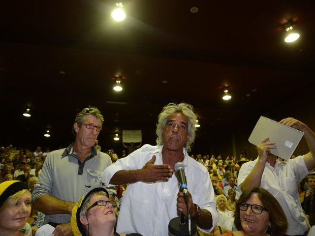 Protestors massed outside Lismore City Hall and followed State Minister Brad Hazzard into the building to question him on CSG in the Northern Rivers. Photo Marc Stapelberg / The Northern Star
