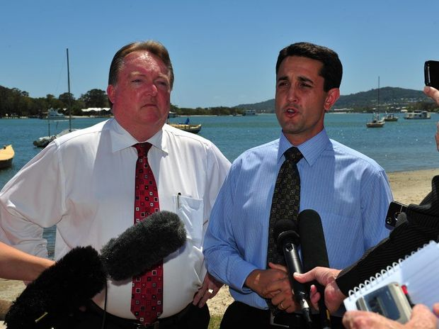 Minister for Aboriginal and Torres Strait Islander and Multicultural Affairs and Minister Assisting the Premier and Member for Noosa Glen Elmes (left) and Minister for Local Government David Crisafulli at Noosa for the announcement on de-amalgamation.