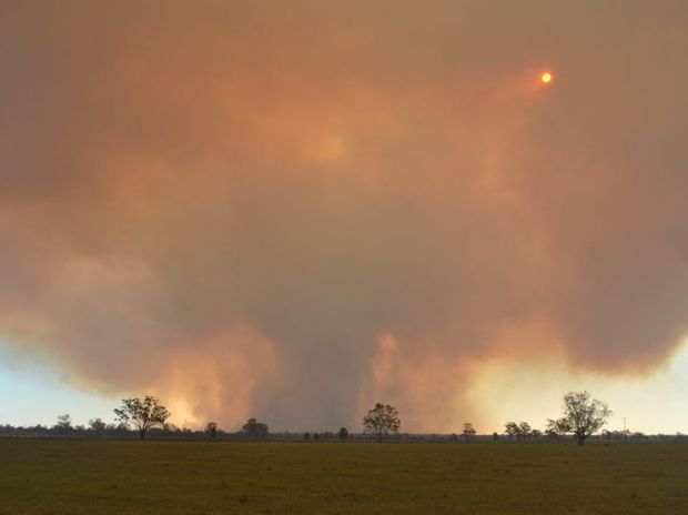 A large bushfire is still burning south-west of Dalby.