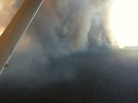 The bushfire near Dalby taken from a fire spotter flown by Queensland Fire and Rescue Service's air attack supervisor Mark Haddow.