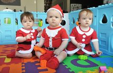 Triplets Zoe, Damon and Ruby Glaros will be celebrating their first birthday on December 12.