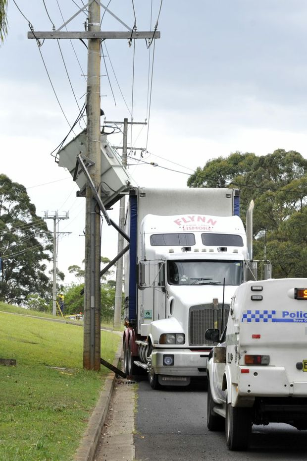 A truck crashed into a power pole at Goonellabah and caused a power outage.