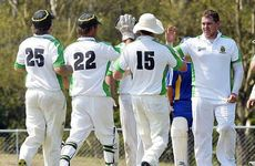 TOP JOB: Ipswich Webb Shield players celebrate a wicket during their comfortable win over Warehouse at Baxter Oval yesterday.