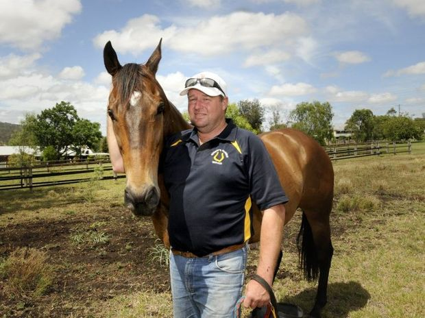 Toowoomba sprinter Ima Joker takes it easy with trainer Wayne Nugent yesterday after his latest country cup win at Texas on Saturday.