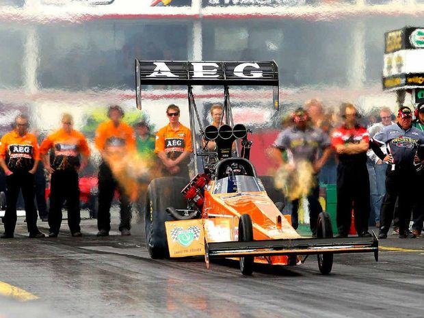BURNING RUBBER: Winternationals Top Fuel champion Darren Morgan in action at Willowbank Raceway.