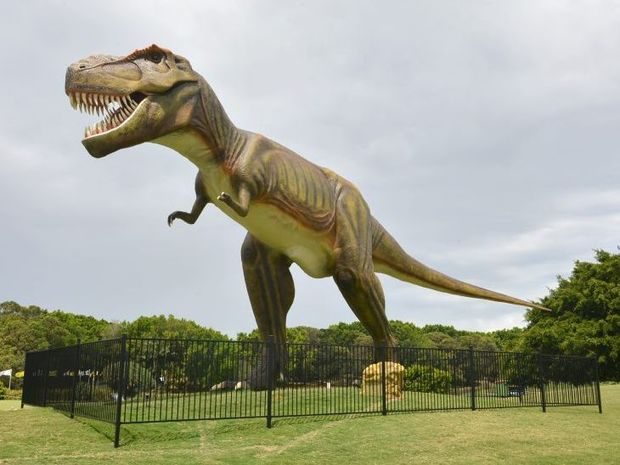 Press conference at the Palmer Resort, Coolum for the PGA. The dinosaur looks over the golf resort. Photo:Warren Lynam / Sunshine Coast Daily