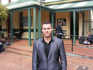 Corey Barker pictured outside Ballina Local Court in 2013, after the conduct of officers who allegedly bashed him was referred to the Police Integrity Commission.