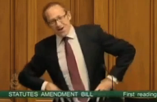 A screen shot of New Zealand MP Andrew Little doing his Gangnam Style jig.