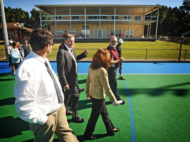 Grafton Hockey executive officer Bruce Carle (right, maroon shirt) shows Anthony Albanese, Mayor Richie Williamson and Member for Page Janelle Saffin around the Grafton Hockey facilities in 2010.