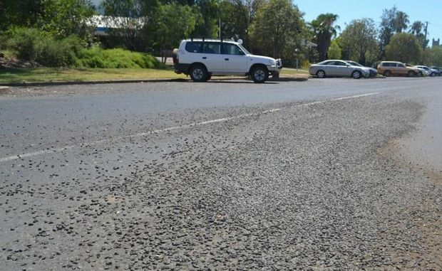 Maranoa Council's roadwork crews have placed loose gravel at Bungil Street and across the road network to offset the affects of bleeding road surfaces.