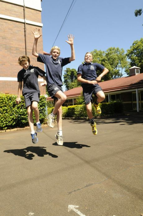 Celebrating the end of the primary school days are (from left) Luke Douglas, Eric Rattray and Finn Collison