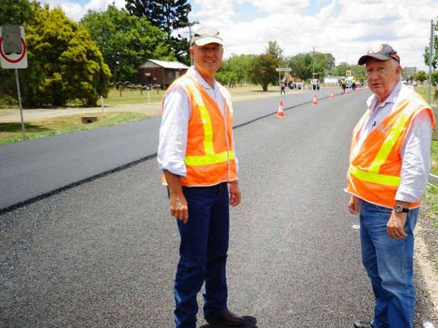 Gympie council deputy mayor and roads councillor Larry Friske inspect the Goomeri upgrade.