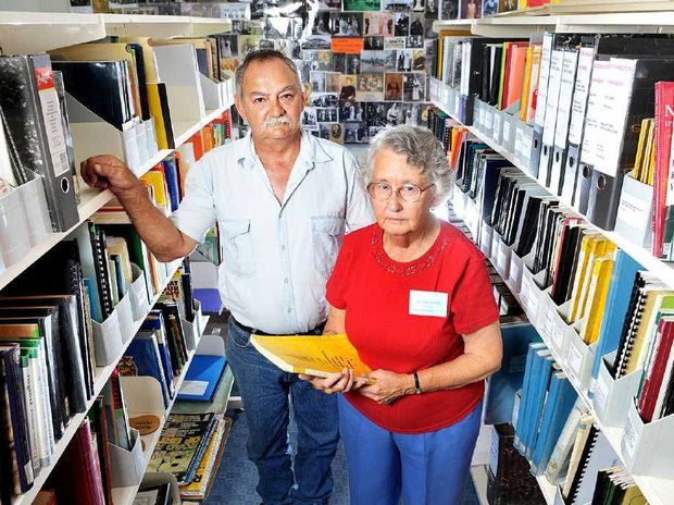 HERITAGE VALUE: Ipswich Genealogical Society secretary Audrey Dillon and Ipswich Historical Society president Ian Wilson fear the loss of historical records and buildings if the State Government goes ahead with the sale of the former Blackstone State School.
