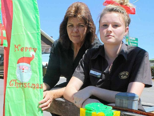 Zarraffa's franchisee Tracey Slater and Codie Brackin were devastated when vandals destroyed their Christmas display.