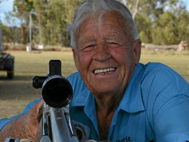 VETERAN MARKSMAN: Laurie Bowe started shooting when he was 15. He is pictured here with one of his weapons of choice a 54 Anschultz rimfire rifle.