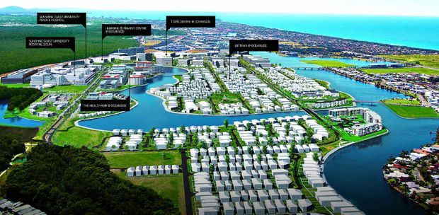 ARTIST'S IMPRESSION: Stockland's Oceanside that encompasses Birtinya Island and the Kawana Hospital precinct.