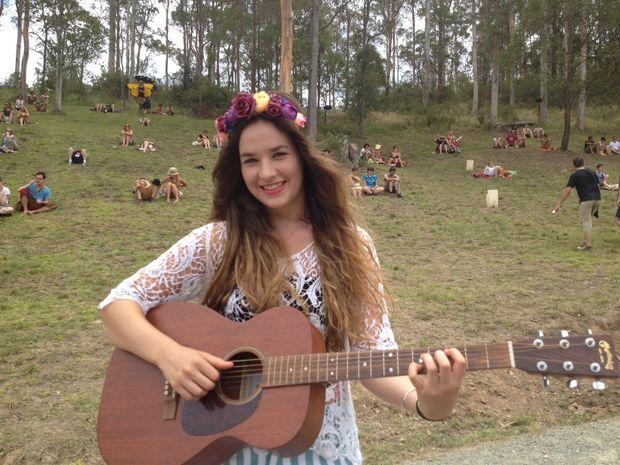 Sunshine coast singer-songwriter Mia Wray at Woodford Folk Festival.