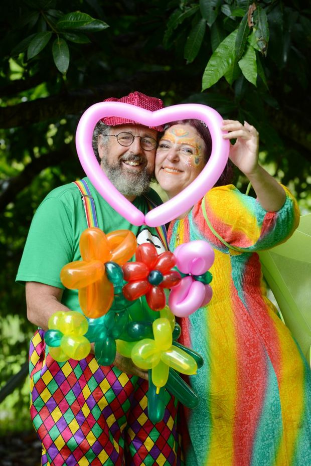 Happy together North Lismore fairy face painter Donna Starr-Walker and baloon twister clown Mr Twister ,Tony Batchelor Photo Jacklyn Wagner / The Northern Star