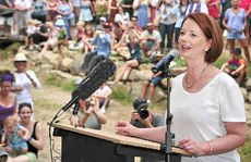 Prime Minister Julia Gillard speaks to the crowd before the opening of the Julia Creek Bridge.