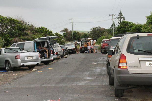 Illegal campers at Belongil Beach, Byron Bay.